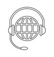 World planet head service communication thin line vector image