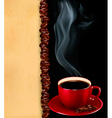 Background with cup of coffee and old paper vector image
