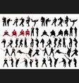 baseball silhouette set vector image