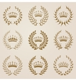 Set of gold laurel wreaths vector image