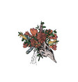 animal skull with flowers and feathers vector image