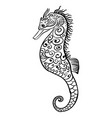 stylized black and white icon of a seahorse vector image