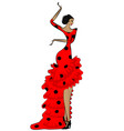 abstract flamenco woman in black and red vector image vector image