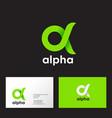 alpha logo emblem green greek letter vector image