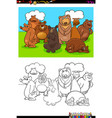 bears animal characters group color book vector image vector image