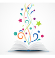 Book opened abstract with colorful star and wave vector image