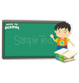 Border design with board and boy vector image vector image