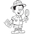Cartoon African boy explorer vector image vector image
