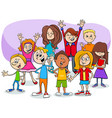 cartoon children and teens characters group vector image vector image