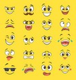cartoon emotions with funny faces with big eyes vector image