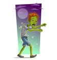 cartoon walking tired zombie boy character vector image