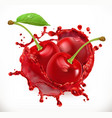 cherry juice fresh fruit 3d icon vector image vector image
