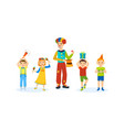 children have fun with a clown home in room vector image vector image