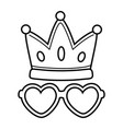crown and heart sunglasses black and white vector image