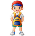 cute boy cartoon with backpack vector image vector image