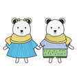 cute polar bears couple childish characters vector image