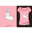 cute t-shirt with rabbit vector image