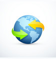 earth icon with circular arrows vector image
