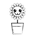 figure kawaii beauty and happy flower plant vector image vector image