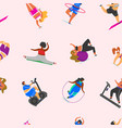 Fitness girls plus size seamless pattern health