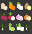flat design vegetables icons set 1 vector image vector image