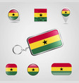 ghana country flag on keychain and map pin vector image