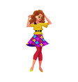 girl in 1980s style clothes dancing at retro disco vector image vector image