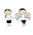 Happy parents with newborn twins vector image