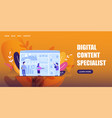 horizontal flat banner digital content specialist vector image