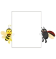 Insect cartoon holding blank sign vector image vector image