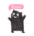 kids hand drawn black monster say hello vector image vector image