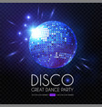 mirror disco ball rays and transparent light vector image vector image