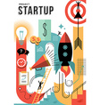 Modern business startup design in retro style vector image