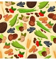 Nut bean seed and cereal seamless pattern vector image vector image
