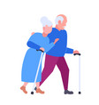 senior elderly couple walking together aged gray vector image