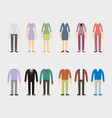 set of woman and man clothes icons vector image