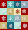 set simple bright snowflakes vector image