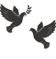 silhouette flying dove with olive twig vector image vector image