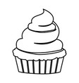 sketch contour of hand drawing cupcake with and vector image