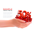 two hands with sale vector image vector image