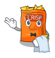 waiter crispy chips snack on a character vector image vector image