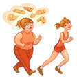 young fat and thin woman jogging vector image