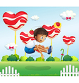 A boy jumping in the field with giant lollipops vector image