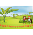 A couple dating at the park vector image vector image