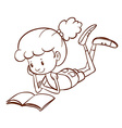 A simple sketch of a girl reading vector image vector image