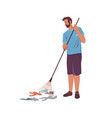 bearded man with rake gathering garbage litter vector image vector image