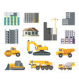 big heavy yellow machines and modern buildings vector image vector image