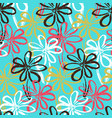 bright blue pattern with contrast simple flowers vector image vector image