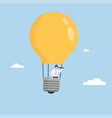 businessman flying in light bulb balloon business vector image