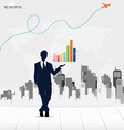 Businessman showing graph with building background vector image